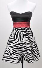 Trixxi Junior's Size 3 (XS) Strapless Party Club Mini Dress Red Black Zebra