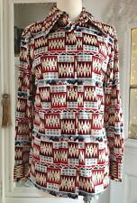 Vintage 1970's LANVIN Southwest Indian BLANKET Print Designer SHIRT Jac TOP USA