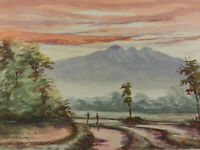 """THE RICE FIELD, END OF DAY"" Vintage Watercolor Painting"