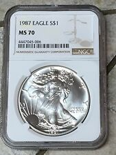 1987 American Silver Eagle NGC MS-70 Shiny And Spotless