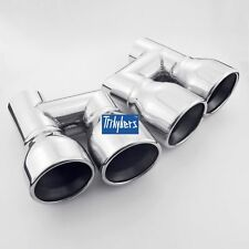 "3.5"" outlet quad pair resonated exhaust tips dual twin round rolled stianless"