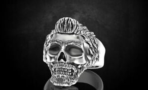 Ring Skull With Glasses And Without Fit For Bikers In 925 Sterling Silver