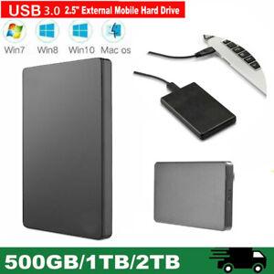 2TB/1TB External Hard Drive Storage Memory Files USB 3.0 For Laptop Tablets PC