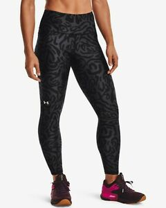 Under Armour HeatGear No-Slip Waistband Tonal Print Ankle Leggings Women's Black