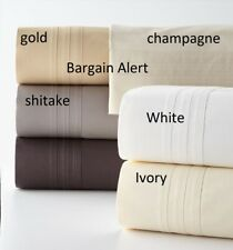 DONNA KARAN HOME 510 SUPIMA COTTON Gold QUEEN Flat SHEET & PILLOWCASES