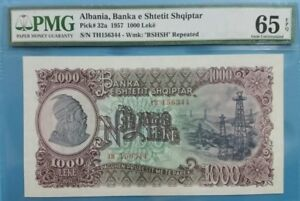 1957 Albania 1000 Leke PMG65 EPQ GEM UNC <P-32a> Big Note