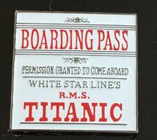 RMS Titanic Boarding Pass Lapel Pin Artifact Exhibit Ship Pin Carded
