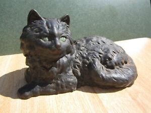Vintage CAST IRON PERSIAN BLACK CAT with Green Eyes DOORSTOP Halloween Iron Art