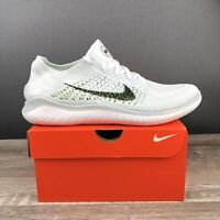 Nike Free RN Flyknit 2018 White Black Running Shoes 942838-100 Mens Size 12.5