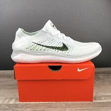 Nike Free RN Flyknit 2018 White Black Running Shoes 942838 100 Mens Size 12.5