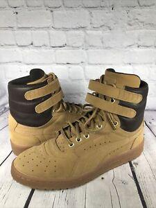 PUMA SKY II Contact Men's Hi Top Shoes Tan Wheat Leather High Double Strap Sz 9