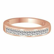 Band Ring Rose Gold Over Sterling 0.75ct Square Princess Cut Anniversary Wedding