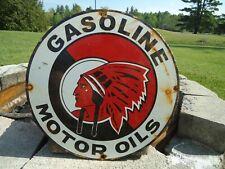 VINTAGE 1950'S GASOLINE MOTOR OILS PORCELAIN ENAMEL GAS PUMP SIGN INDIAN CHIEF
