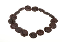 Round Flat Volcanic Lava Beads 24mm 16 inch strand Coffee Brown Color DIY