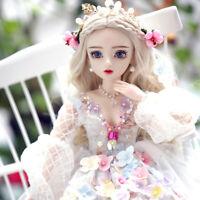 BJD 1/3 Girl Doll Changeable Eyes + Face Makeup + Dress Full Set Pretty Gift Toy