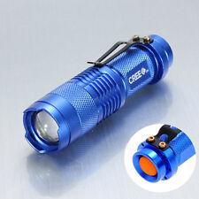 New MINI 1200LM ZOOM 3-Mode Adjustable Focus CREE Q5 LED Flashlight Torch Blue