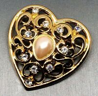 Monet Faux Pearl & Crystal Rhinestone Filigree Heart Gold-tone Brooch Vtg Estate