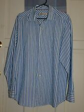 Tommy Bahama Cotton/Silk Men's Lg. Blue and White striped Shirt