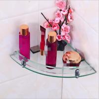 7mm Wall Mounted Glass Corner Shelf Home Bathroom Storage SOAP DISH RACK Holder