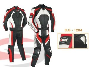 Motorcycle Motorbike CE ARMOURED Leather Racing Biker Suit 2Pcs Black/Red/white