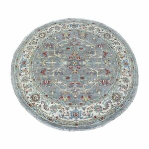 """4'1""""x4'1"""" Peshawar Gray With Heriz lustrous Wool Hand Knotted Round Rug R67170"""