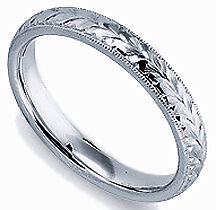 NEW LADYS HAND ENGRAVED PURE PLATINUM WEDDING BAND RING