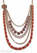 Charter Club Red Crystal Copper Tone Tiered Chain Frontal Long Necklace $74 NEW