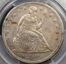1860 O SEATED DOLLAR PCGS AU50 VERY CHOICE & ORIGINAL MUCH REMAINING LUSTER
