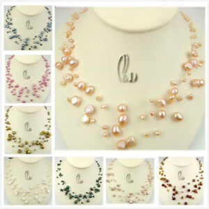 AU SELLER Lovely Handmade Multi-Strand Genuine Freshwater pearls necklace n021