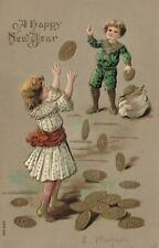 1908 VINTAGE EMBOSSED BOY & GIRL THROWING GOLD COINS to each other POSTCARD