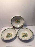"3 WCL Herb Soup Salad Pasta 8"" Ceramic Bowls Rosemary Basil & Thyme"