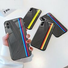 Phone Case Carbon Fiber Cases For iPhone Car Logo Phone Cover Mirror Covers Kit