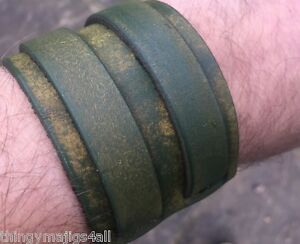 GENUINE LEATHER FADED GREEN WRISTBAND WRIST STRAP CUFF BRACELET MENS BUCKLE A47