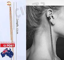 HOT Ear Cuff Clip On Earring Chain Tassel Long Vintage Jewellery GOLD