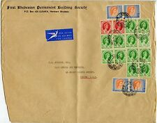 RHODESIA + NYASALAND LARGE PRINTED ENVELOPE AIRMAIL to GB 18 stamp MULTIFRANKING