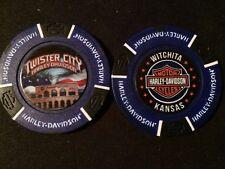 "Harley Golf Ball Marker Poker Chip (DARK Blue) ""Twister City"" Wichita KS ERROR"
