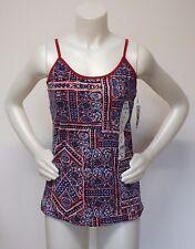 Tank Top Spaghetti Strap Shirt Women X Large Red/Blue Bobbie Brooks Ladies