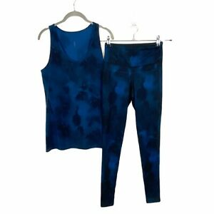Lucy Womens Blue Sleeveless Scoop Neck Tank Top Leggings Workout Set Size M/XS