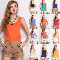 Fashion Womens Slim Summer Casual Chiffon Vest Tank Sleeveless Shirt Tops Blouse