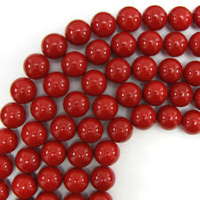 """16mm red shell pearl round beads 16"""" strand"""