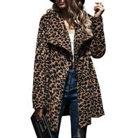 Womens Winter Leopard Warmer Long Sleeve Lapel Coat Casual Jacket Outwear Tops