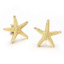 18k Gold Plated Starfish Earrings Women's Titanium Steel Ear Studs Anti-allererg