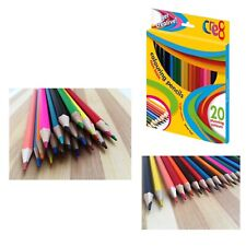 20 x FULL SIZE COLOURING PENCILS ASSORTED COLOURS KIDS HOME SCHOOL