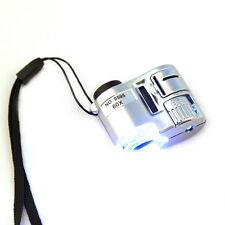 New Mini 60X Pocket Microscope Jewelry Magnifier Loupe Glass LED UV Light ZV