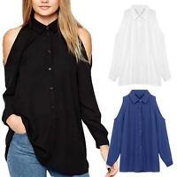 Moda Verano Mujer Camisa Gasa Holgado Informal Blusa manga larga mujer top