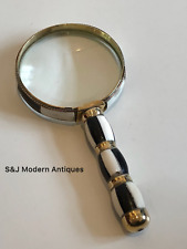 Antique Magnifying Glass X10 Vintage Black & White Desk Reading Mother of Pearl
