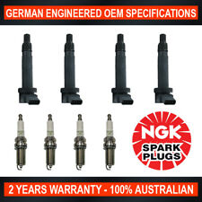 4x Genuine NGK Spark Plugs & 4x Swan Ignition Coils for Toyota Hilux TGN16R 2.7L