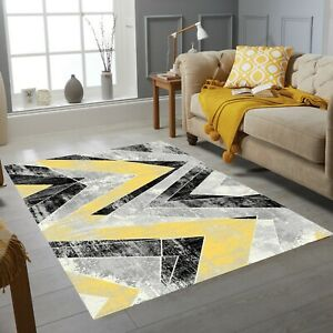 Luxury Zig Zag Collection Small Extra Large Living Room Floor Carpet Rug Yellow