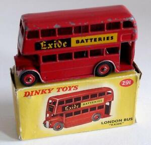 DINKY TOYS (291) LONDON BUS (EXIDE BATTERIES)   - PLASTIC HUBS  (BOXED)