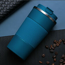 380ml Double Stainless Steel Coffee Cup Thermos Mug with Non-slip Case Blue